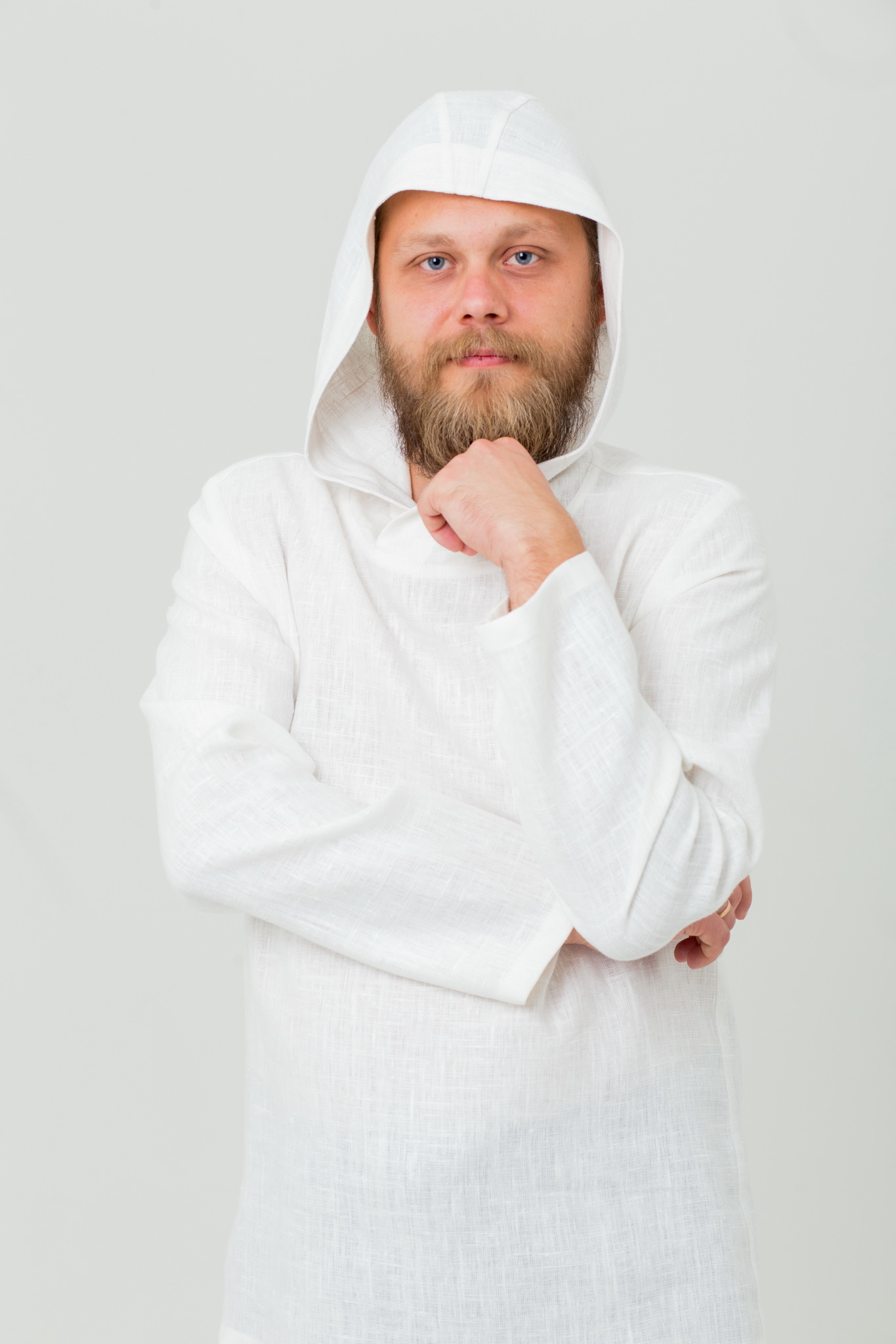 Мужская рубашка из льна с капюшоном Кузнец счастья