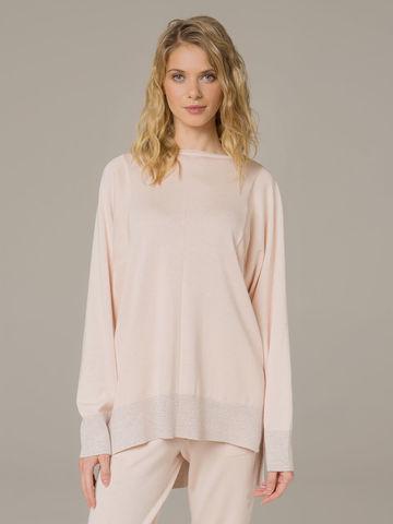 Женский джемпер светло-розового цвета из шелка и кашемира - фото 3