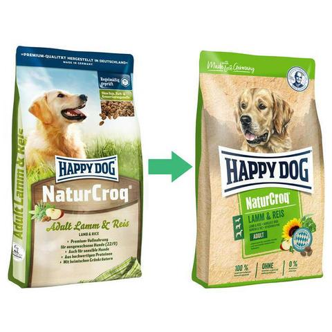 15 кг. HAPPY DOG - Сухой корм для взрослых собак всех пород с ягненком и рисом - NaturCroq Lamm&Rice