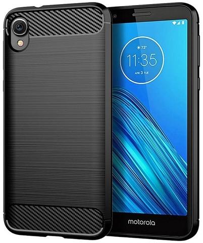 Чехол на Motorola Moto E6 черного цвета, серия Carbon от Caseport