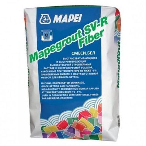 Mapei Mapegrout SV-R Fiber/Мапей Мапеграут СВ-Р Файбер бетонная смесь наливного типа для ремонта бетонных и железобетонных конструкций при температуре не ниже -5С