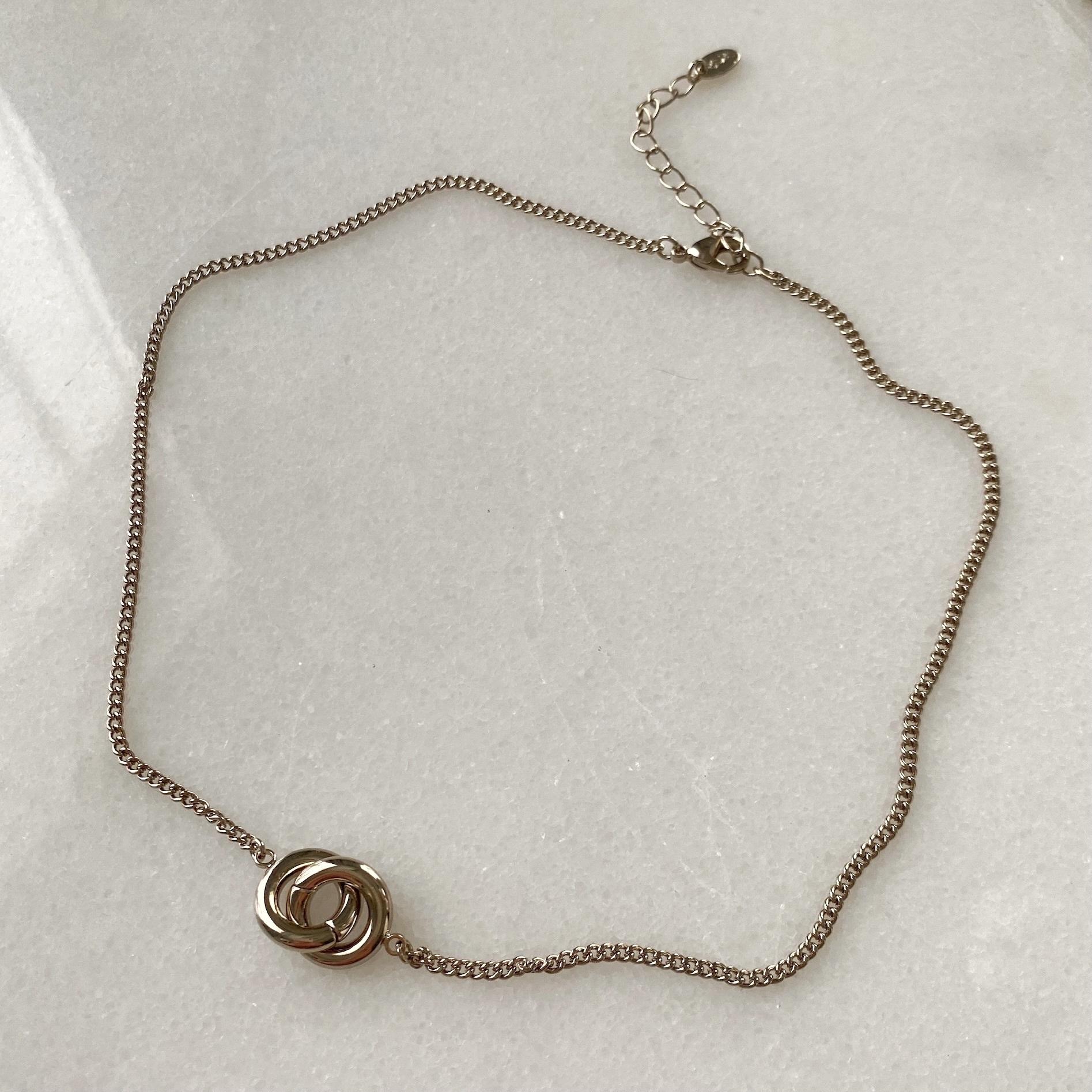 Колье-цепь с двумя колечками (брасс)