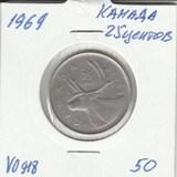 V0918 1969 Канада 25 центов