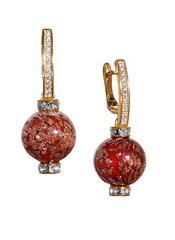 Серьги из муранского стекла со стразами Daniella Red