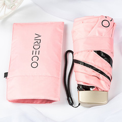Тонкий, плоский и легкий зонт с защитой от УФ излучения, 6 спиц (розовый)