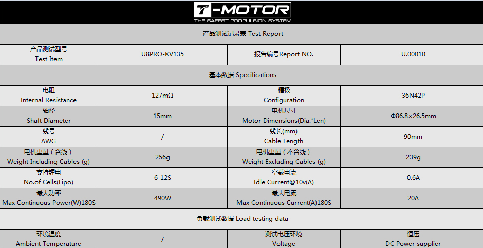 Технические характеристики электромотора T-Motor U8 Pro KV135