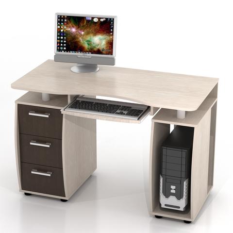 Компьютерный стол ДРОФА КС-12М дуб беленый, венге