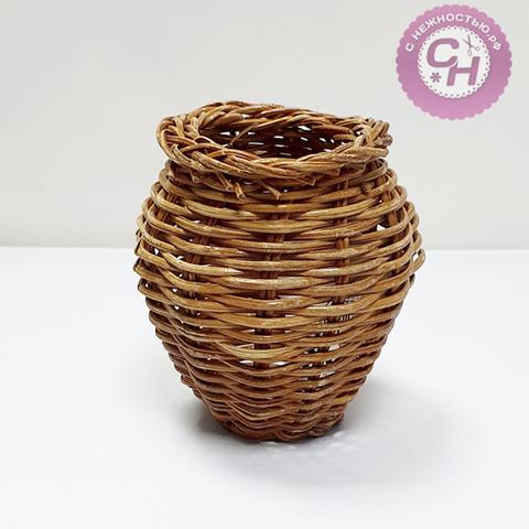 Кувшинчик плетеный декоративный, ротанг, 8 см.