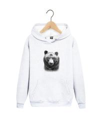 Толстовка белая с капюшоном (худи, кенгуру) 002 и принтом Медведь, Медвежонок (Bear)