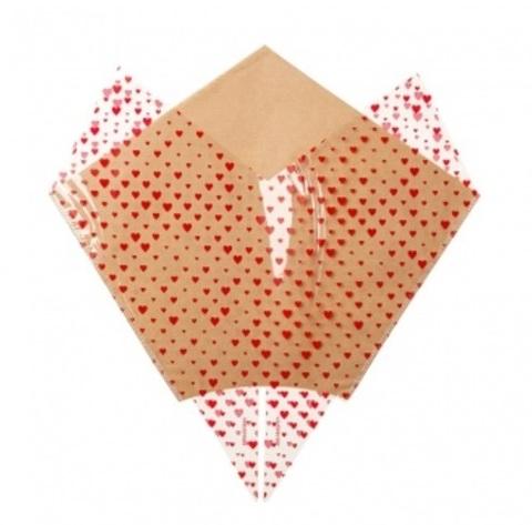 Рюмка Сердечки (крафт), 38x35x13см, натуральный/красный (упак. 50 шт.)