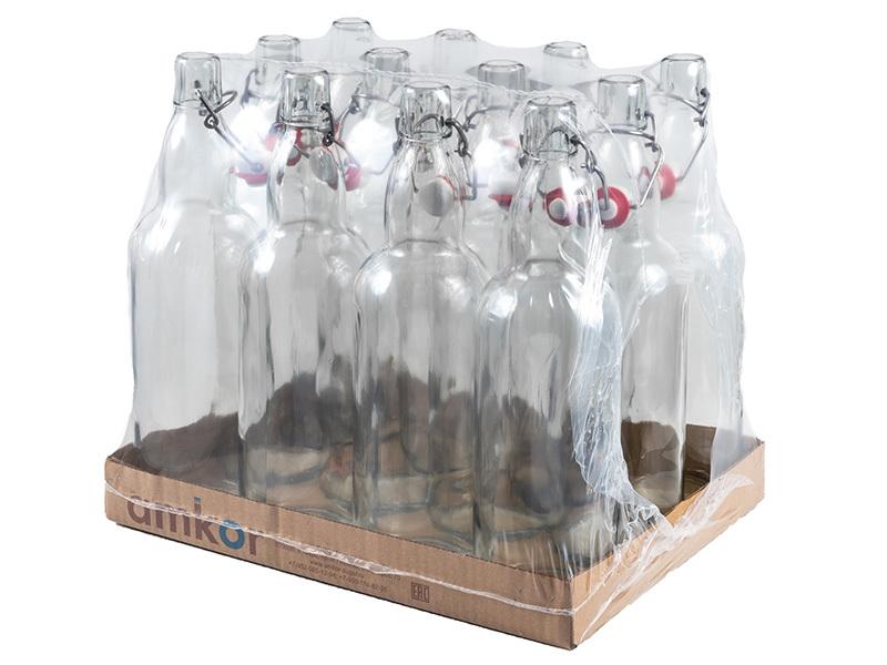 Розлив и хранение пива Бутылка прозрачная  1 литр с бугельной пробкой  12 штук 013129_1.jpg