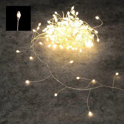 Гирлянда капельки на серебряном проводе белый свет, для наружного и внутреннего использования