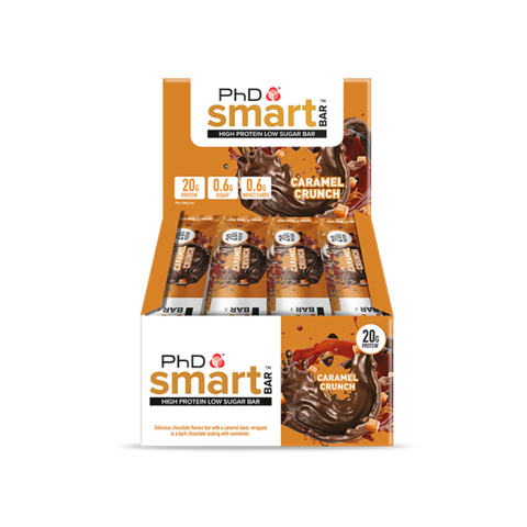 PhD Smart Bar, протеиновый батончик, вкус Карамель, упаковка 12х64 гр.