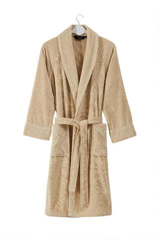 Махровый мужской банный халат DELUXE песочный