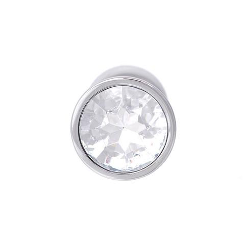 Анальная пробка с кристаллом (белый), размер S