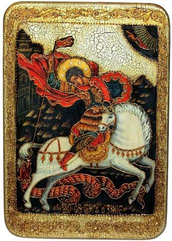 Инкрустированная большая икона Чудо святого Георгия о змие 42х29см на натуральном дереве в подарочной коробке