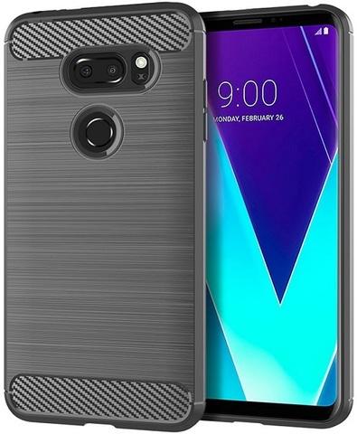 Чехол для LG V30S ThinQ (V30S+ ThinQ, V35 ThinQ) цвет Gray (серый), серия Carbon от Caseport
