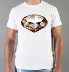 Футболка с принтом Бриллиант (с бриллиантами, с камнями, diamonds) белая 003