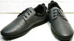 Летние кожаные туфли мокасины в дырочку мужские Ridge Z-430 75-80Gray.