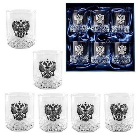 Подарочный набор стаканов для виски «Возрождение», Герб РФ