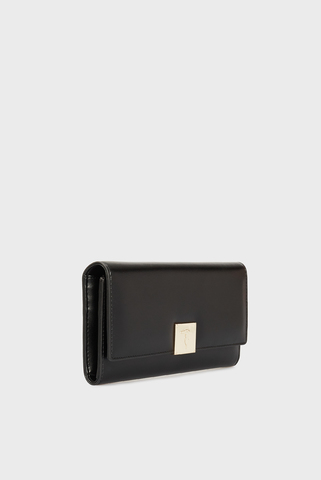 Женский черный кошелек LIONE CONTINENTAL WALLET LG ECOLEATHER Trussardi