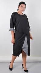 Лыбидь. Элегантное платье для больших размеров. Черный.