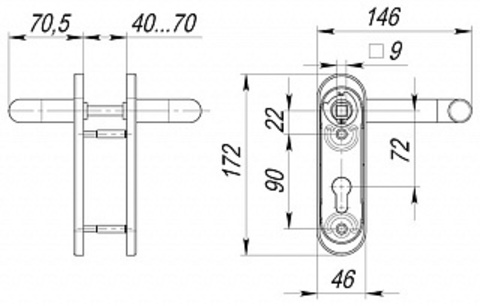Ручка дверная с пружиной