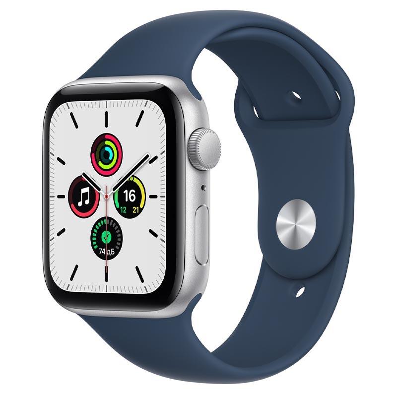 Apple Watch SE, GPS, 44 мм, алюминий серебристого цвета, спортивный ремешок цвета «Синий омут»