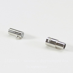 Замок для шнура 3 мм магнитный из 2х частей, 15,5х5 мм (цвет - платина)