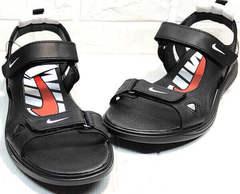 Мужские летние сандали босоножки из натуральной кожи Nike 40-3 Leather Black.