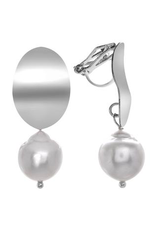 Серьги-клипсы с жемчугом Aurora Specchio Silver