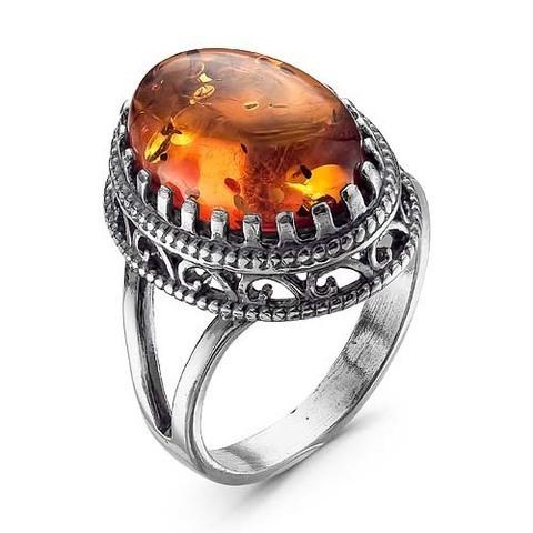 Кольцо с янтарем и серебрением
