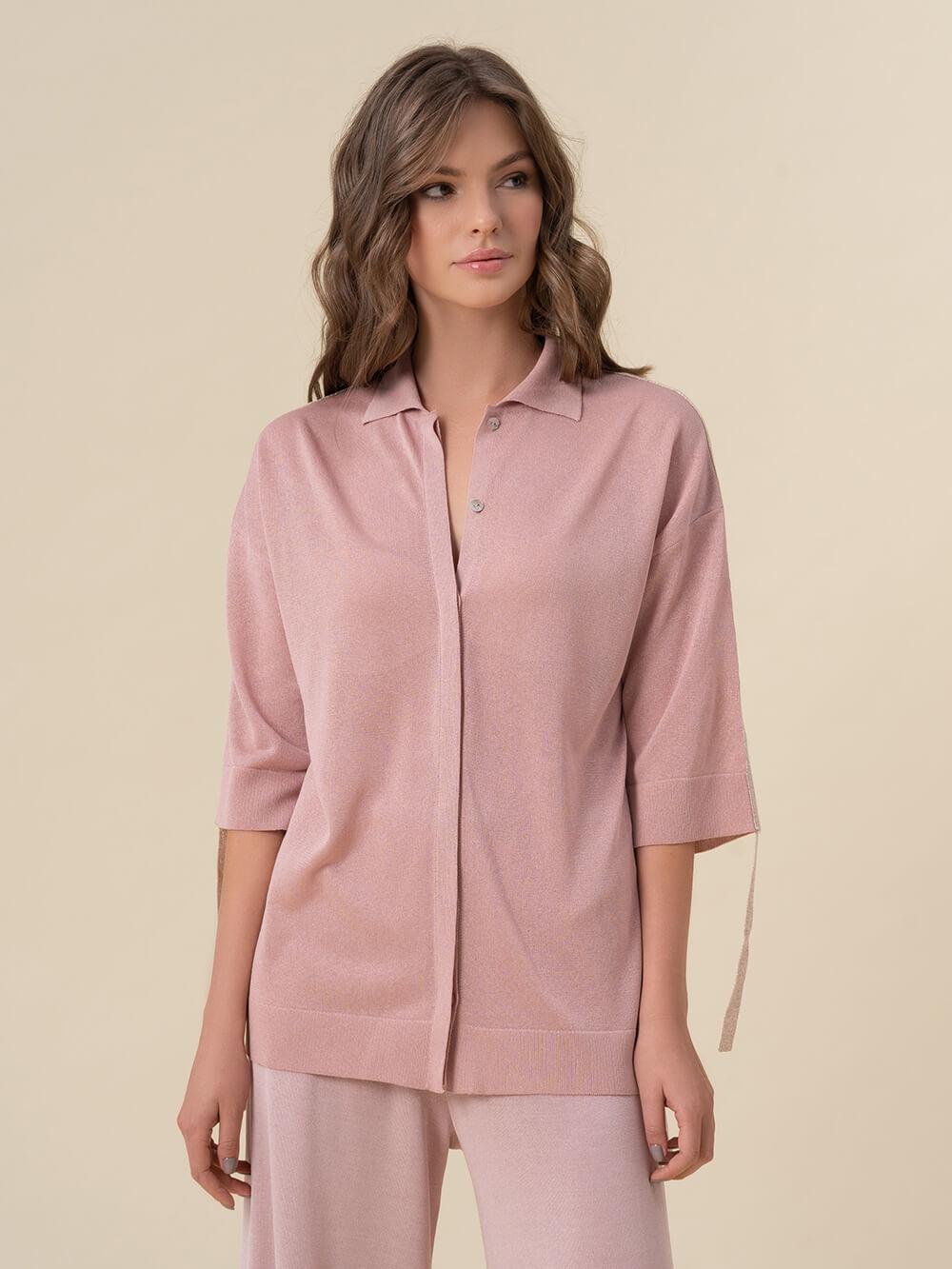 Женский джемпер светло-розового цвета из вискозы - фото 1