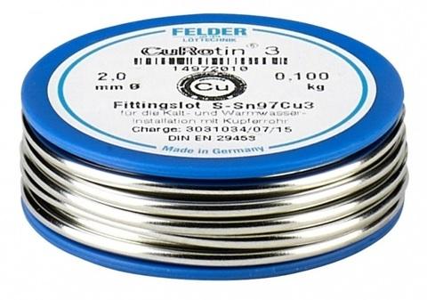 Felder припой мягкий №3 - 2 мм 100 г на шпуле Cu-Rotin®3 Sn97Cu3