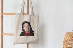 Сумка-шоппер с принтом Майкл Джексон (Michael Jackson) бежевая 003