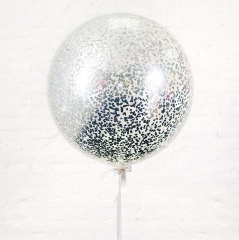 Большой шар с конфетти  мелкий квадрат (серебро)