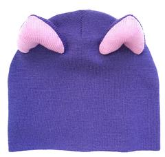 Шапка кошка фиолетовая с розовыми ушками