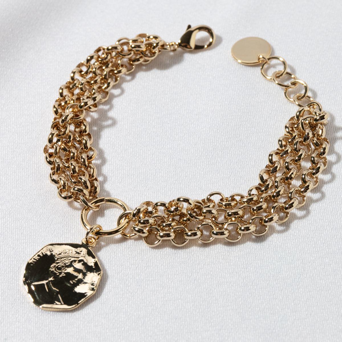 Браслет трехрядный из цепей с монетой (золотистый)