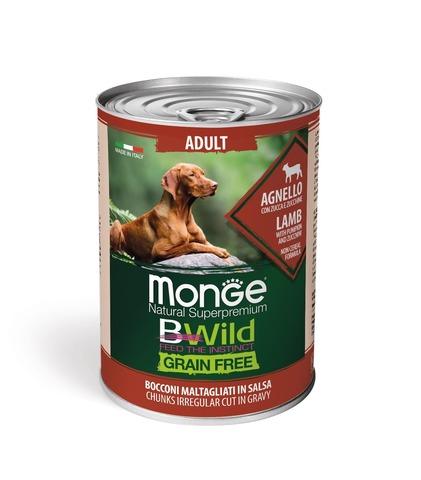 Monge Dog BWild Grain Free Консервы для взрослых собак всех пород из ягненка с тыквой и кабачками, беззерновые (банка)