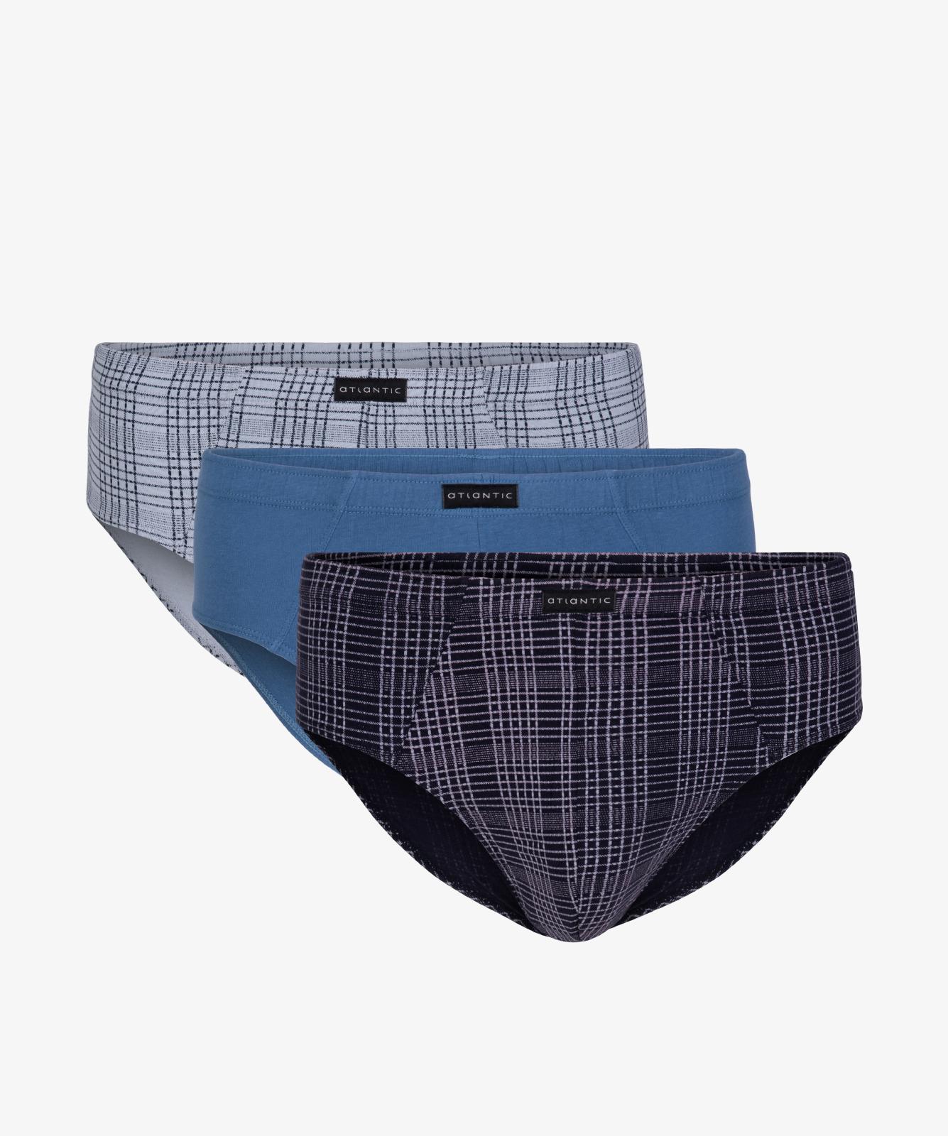 Мужские трусы слипы классика Atlantic, набор 3 шт., хлопок, серые + деним + темно-синие, 3MP-087