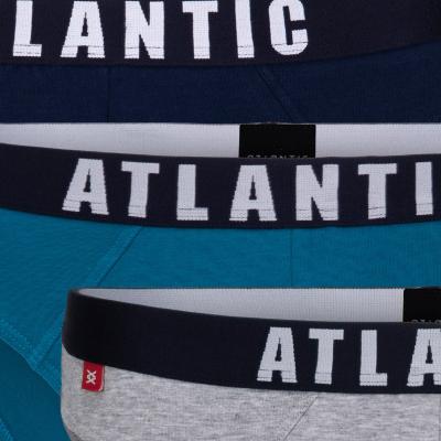 Мужские трусы слипы спорт Atlantic, набор 3 шт., хлопок, темно-синие + зеленые + серый меланж, 3MP-094