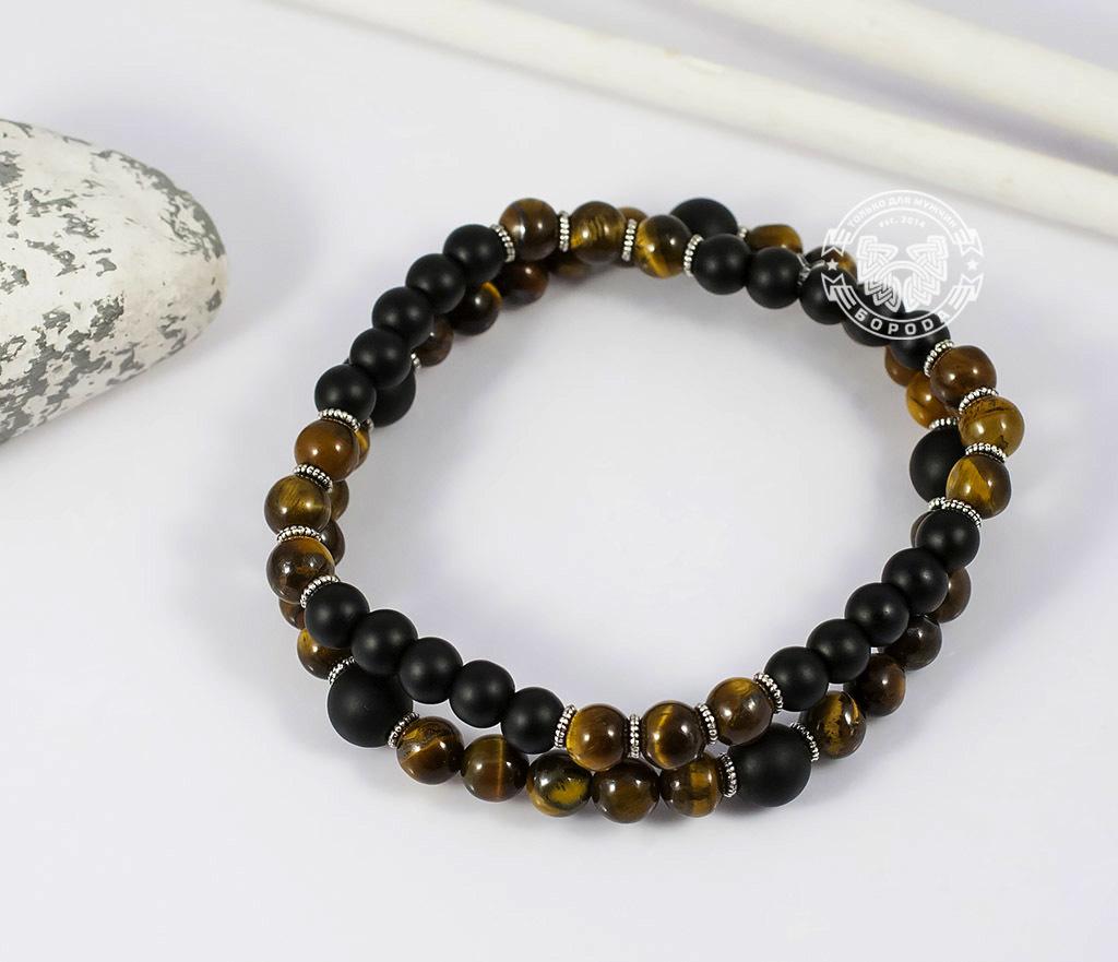 BS655 Яркий двойной браслет из тигрового глаза и шунгита. «Boroda Design» фото 02