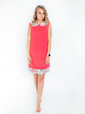 Платье коралловое с розовым воротником