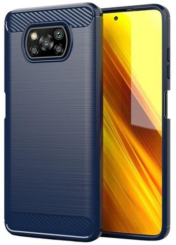 Чехол накладка на Xiaomi Poco X3 NFC, темно синий цвет, серия Carbon от Caseport
