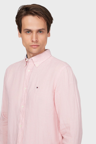 Мужская розовая льняная рубашка PIGMENT DYED Tommy Hilfiger