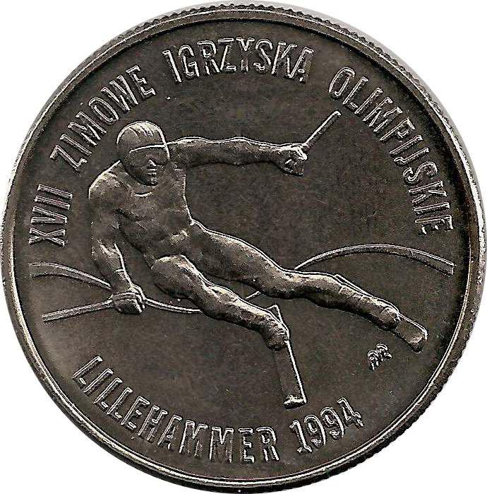 20000 злотых. Лиллехаммер 1994 год. XVII Зимние Олимпийские игры. 1993 год. Польша. UNC