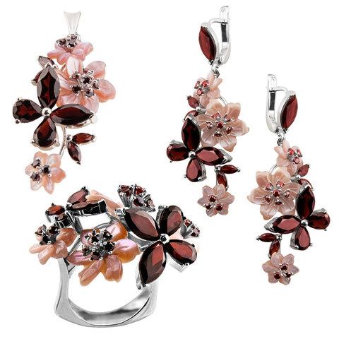 Комплект украшений с цветами из перламутра и гранатом № 129