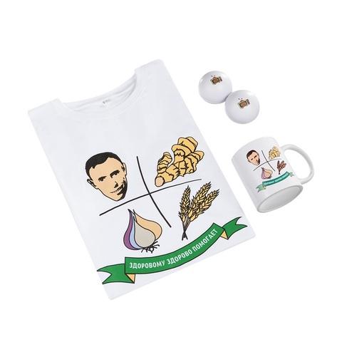Подарочный комплект БЕЗ КНИГ «Здоровье от В.Островского» - майка, кружка, мячи