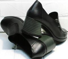 Женские черные кожаные туфли с толстым каблуком 6 см осень весна H&G BEM 107 03L-Black.