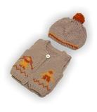 Вязаный жилет - Бежевый 1. Одежда для кукол, пупсов и мягких игрушек.